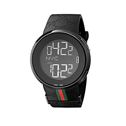Gucci I Gucci Collection Men's Digital Watch with Black Dial Digital Display Black PVD Case and Black Rubber Strap...