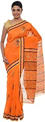 The Print Village Women's Cotton Silk Saree (Orange)
