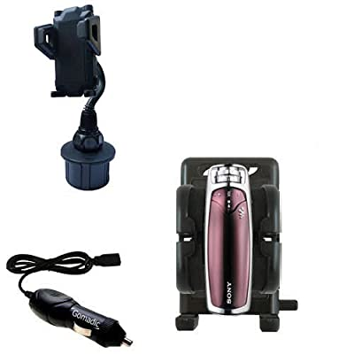 Auto Cup Holder with Car Charger for the Sony Walkman NW-S703F - uses Gomadic TipExchange Technology