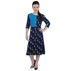 Funk For Hire Women Rayon & Crepe Katputli printed Block Shirt Dress (Navy Blue, Size XL)