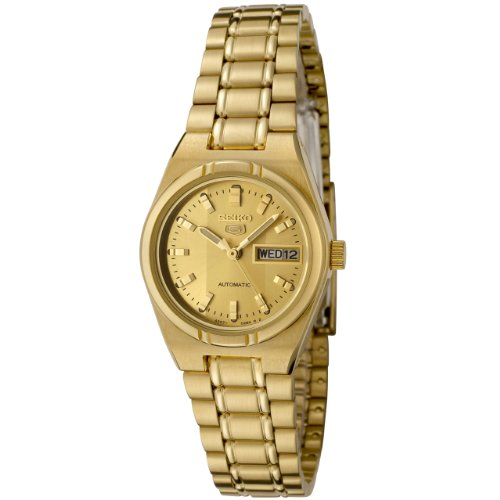 Seiko Women's SYM600K Seiko 5 Automatic Gold Dial Gold-Tone Stainless Steel Watch