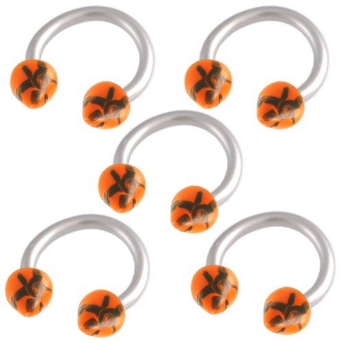 16g 16 gauge 1.2mm 5/16 8mm steel circular barbell horseshoe bar ring lip ear tragus studs eyebrow FBXU Jewellery Body Pierced 5Pcs