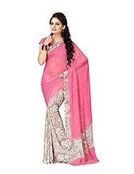 Vaamsi Chiffon Printed Saree (Rolex3109_Pink_6.3 M Length)