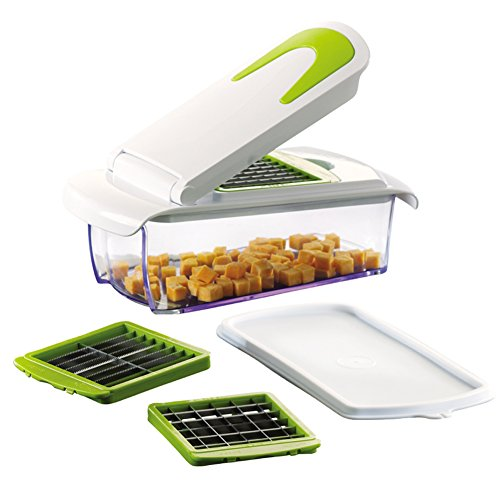 Vegetable and Fruit Chopper with 3 Stainless Steel Blades, Adjustable Slicer & Dicer With Storage Container and Non-Skid Base, By