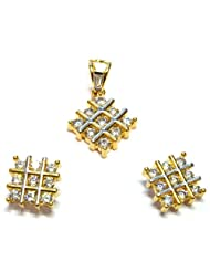 M Gold Designer 18k Gold Plated Diamond Pendant Set White PS22GJ For Women