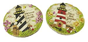 Pair of Lighthouse Decorative Garden Stepping Stones/Wall Plaques
