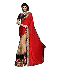 coolwomen women's georgette embroidered free size fancy saree-cw_NMPNA10_red_free size