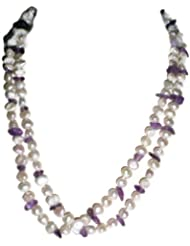 Naarilok Long Pearl Chain With Stones For Women
