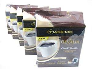 Tassimo T-Disk: Gevalia French Vanilla Coffee T-Disc Pods (Case of 5 packages; 80 T-Discs Total) from Kraft Foods