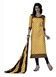 Dress Material Chanderi Yellow Embroidered + Lace Unstitched