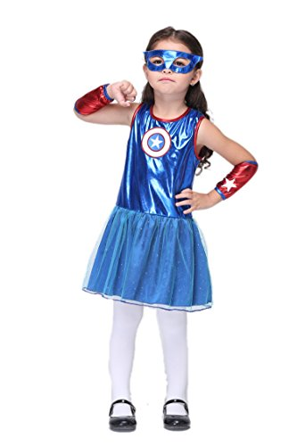 NonEcho Child's Girls Superhero Halloween Costume Supergirl Outfit Kit