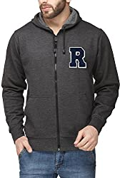 Scott Mens Premium Cotton Blend Pullover Hoodie Sweatshirt with Zip and Flocking Letter - Charcoal - RESSlZ1_XL