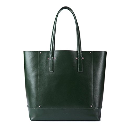 Borsa donna shopping bag a spalla in vera pelle Shopper con interno staccabile DUDU Verde