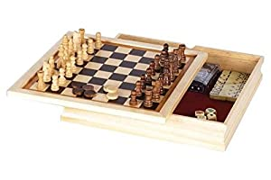 GREAT 6 - IN - 1 GAME SET: Chess, Checkers, Backgammon, Poker Dice, Dominoes, and Playing Cards!