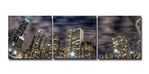 3 Panel Wall Art Painting Chicago Buildings Skyscrapers Night City Lights Fisheye Pictures Prints On Canvas City The Picture Decor Oil For Home Modern Decoration Print