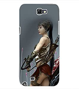 ColourCraft Warrior Girl Design Back Case Cover for SAMSUNG GALAXY NOTE 2 N7100
