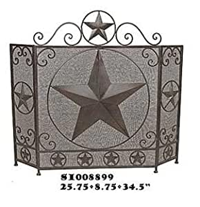 Fireplace Screen Tri Fold With Star Metal