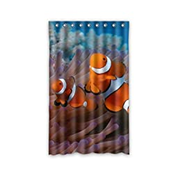 Custom Clownfish Anemone Window Curtains/Drape/Panels/Treatment Polyester Fabric Bedroom Decor 52\