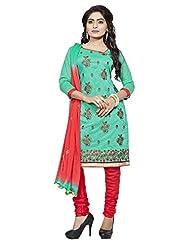Divya Emporio Unstitched Cotton Silk Salwar Suit Dupatta(DE-013_Green)