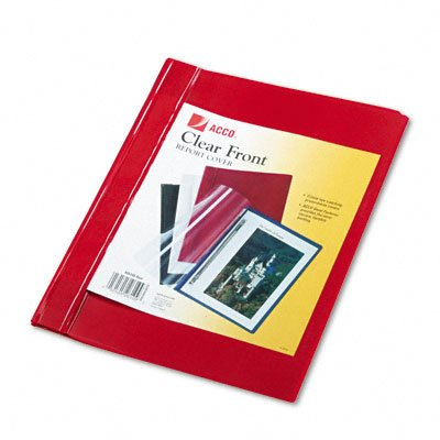 Clear front report covers: prong fastener, 1/2 cap., red vinyl back, 10/pk - Buy Clear front report covers: prong fastener, 1/2 cap., red vinyl back, 10/pk - Purchase Clear front report covers: prong fastener, 1/2 cap., red vinyl back, 10/pk (ACCO Brands Inc., Office Products, Categories, Office & School Supplies, Binders & Binding Systems, Report Covers)