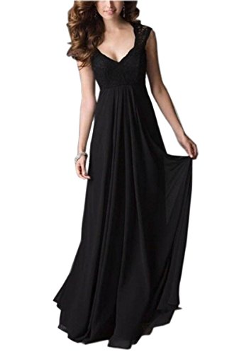 REPHYLLIS Women Sexy Vintage Party Wedding Bridesmaid Formal Cocktail Dress(L,Black)