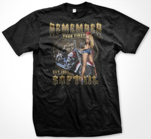 Remember Your First Softail Motorcycle Mens T-shirt, Sexy Chick, Biker Til I Die Design Mens Tee Shirt, Large, Charcoal