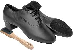 Very Fine Men\'s Salsa Ballroom Tango Latin Dance Shoes Style S417 Bundle with Dance Shoe Wire Brush, Black Leather 6.5 M US Heel 1.5 Inch