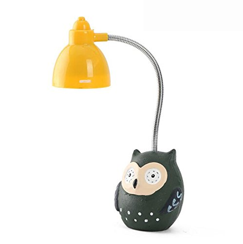 Bestag Button Battery LED Owl Childrens Night Lights Novelty Items Bedside Book Desk Lamp Table Light Lamp (Green) (Bread Lamp compare prices)