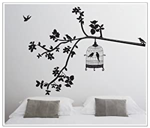 OneHouse DIY Black Tree with Leaves Birdcage and Birds Wall Decal Home Decor Sticker by OneHouse