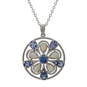 """Sterling Silver Tanzanite and Opal Floral Pendant Necklace, 18"""""""