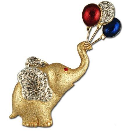 Balloon Patriotic Crystal Elephant Pin/Brooch