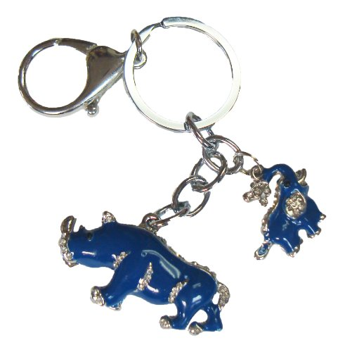 Feng Shui Blue Rhinoceros and Elephant Keychain