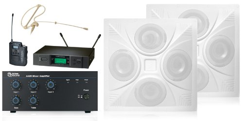 Wireless Conference Room Sound System 2 Ceiling Speakers, Mixer Amplifier, Headset Wireless Mic