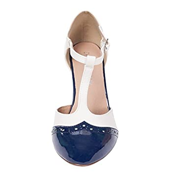 Chelsea Crew Gatsby Vintage Wingtip T-Strap Two Tone Mary Jane Pump Heel
