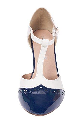 Chelsea Crew Gatsby Vintage Wingtip T-Strap Two Tone Mary Jane Pump Heel 1