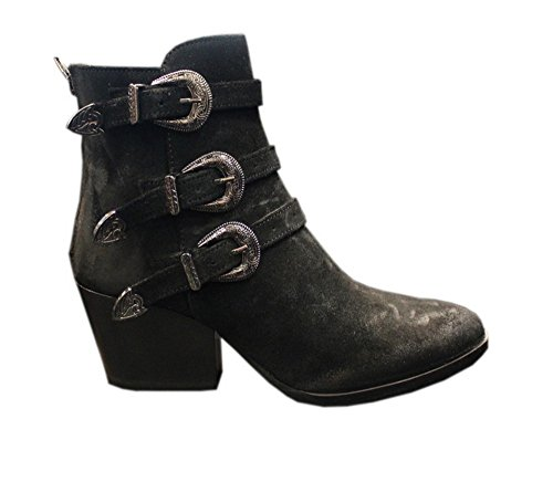 362-408-13 BLACK Texano Donna Crosta Fibbie argento