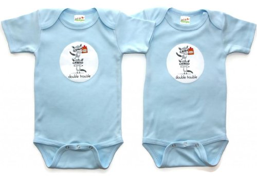Just Multiples Twin Baby Boys' Onesies Set Double