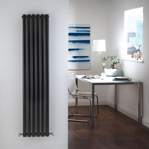 High-Gloss Black Designer Double Radiator - Curved Panels - Luxury Central Heating Vertical 'Oval' Columns - 1600mm x 354mm