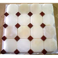 Designer White Onyx Octagon With Red Dots Polished Mosaics Meshed on 12