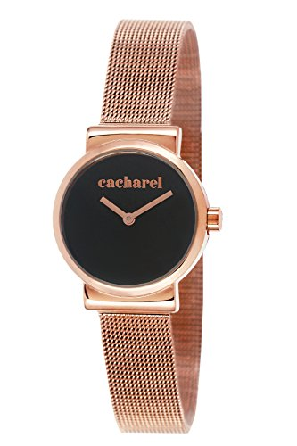 Cacharel - 2AM CLD 044/Women's Watch Analogue Quartz Black Dial Steel Strap-Plated Pink