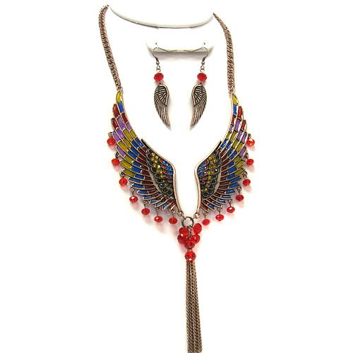 1224c 28 Wings Red Multi Bronze Plated Earring-necklace Set