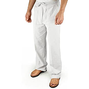 Cotton beach drawstring pants in White