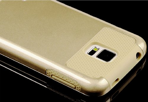 Mylife (Tm) Brushed Gold - Free Flex Series (2 Layer Neo Hybrid) Slim Armor Case For The New Galaxy S5 (5G) Smartphone By Samsung (External Rubberized Hard Shell Flex Piece + Internal Soft Silicone Flexible Bumper Gel)