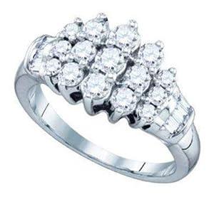 Pricegems 10K White Gold Ladies Round Brilliant Diamond Cluster Set Ring (0.96 cttw, H-I Color, I1/I2 Clarity, Ring Size: 7)