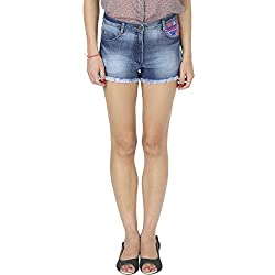 IRALZO Ripped Blue Denim Shorts