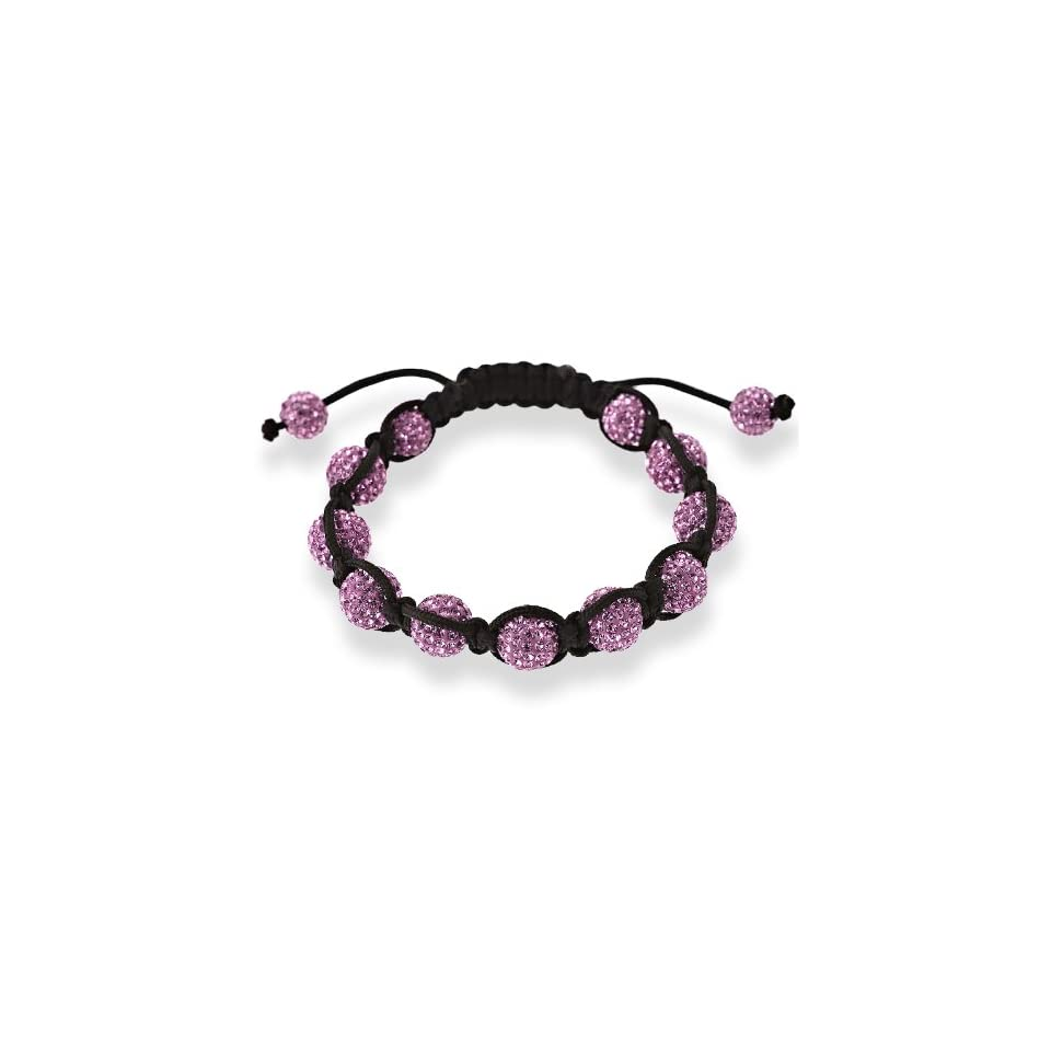 10mm Purple Crystal Beads with Black Cord Macrame Bracelet