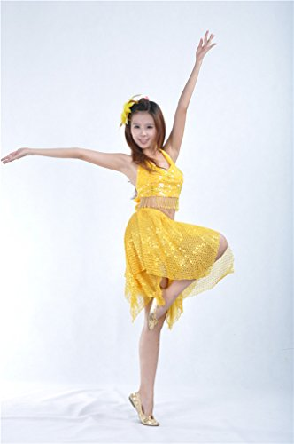 Dreamspell Women Sexy Dancing Belly Dance Shining Yellow Set Top/Skirt