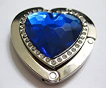Blue Sapphire Crystal Heart With Diamonds Foldup Hand Bag Purse Hook Hanger