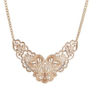 Qiyun Vintage Hollow Out Crystal Bib Chain Pendant Statement Choker Necklace Cristal Vintage Collier
