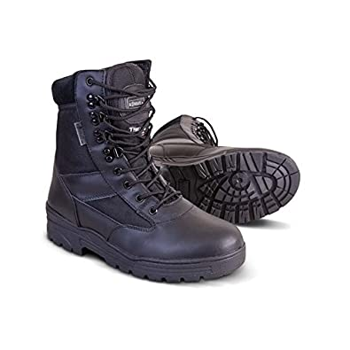 Mens Combat Military Black Army Patrol Hiking Cadet Work High Leather Boot All Sizes UK 3 - 13 (UK 3)